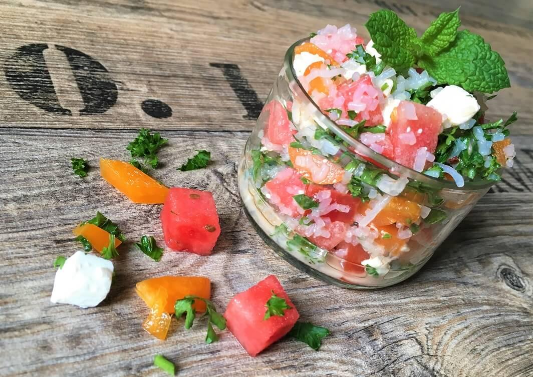Reissalat mit Feta und Wassermelone