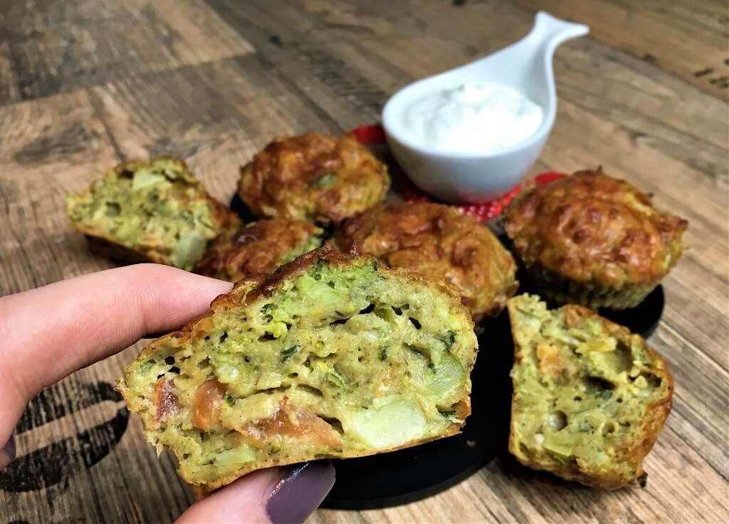 Schön grün und lecker: Brokkoli Muffins