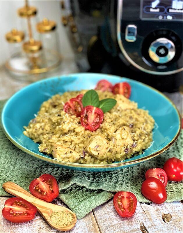 Pesto Risotto mit Hähnchen